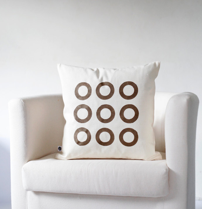 Decorative pillow cover bronze Christmas ornaments circles hand printed on