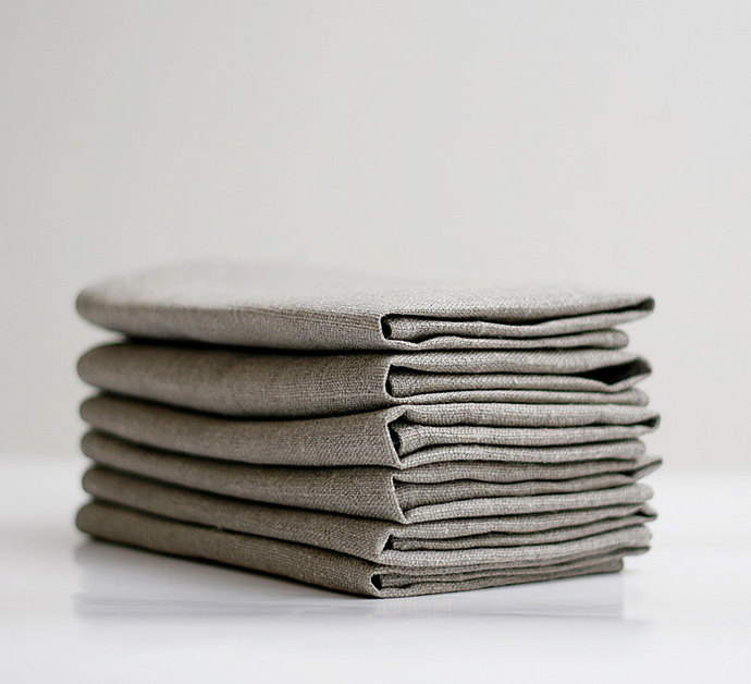 Linen napkin set of 12 - gray cloth napkins -  18x18 inch size