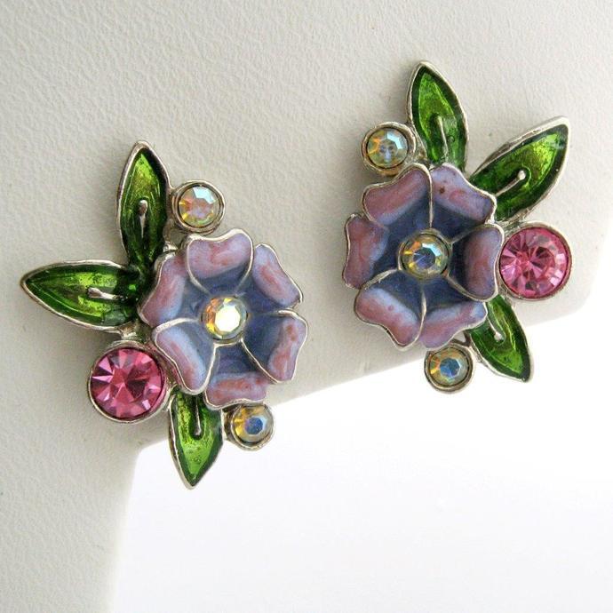 Vintage Earrings Floral Enamel Rhinestone Silver Tone Green Raspberry Purple