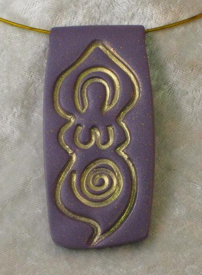Lavender and Gold Goddess Pendant