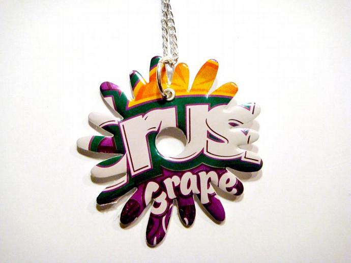 Grape Crush Soda Can Flower Burst Necklace