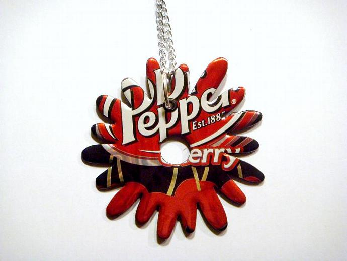 Cherry dr pepper Soda Can Flower Burst Necklace