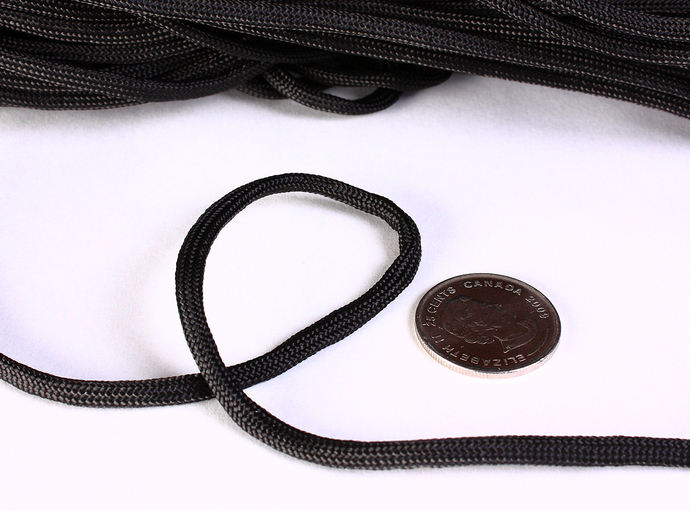 4mm black parachute cord - rope - Paracord - Para cord - 10 feet / 3 meters /