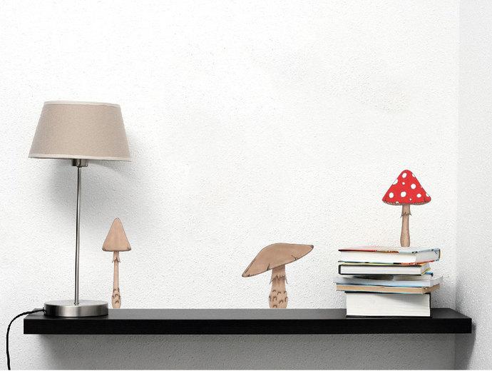 """Three Mushroom Wall Decals - 7"""" tall x 12"""" wide"""