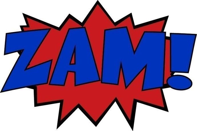 6 Mini Comic Sound Effect Decals Boom Zam Ka-Pow - Size information in