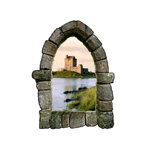 """Castle Window Wall Decal Design 3 - 27.5"""" tall x 21"""" wide"""