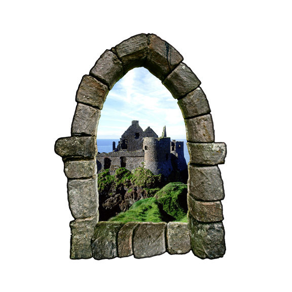 "Castle Window Wall Decal Design 2 - 27.5"" tall x 21"" wide"