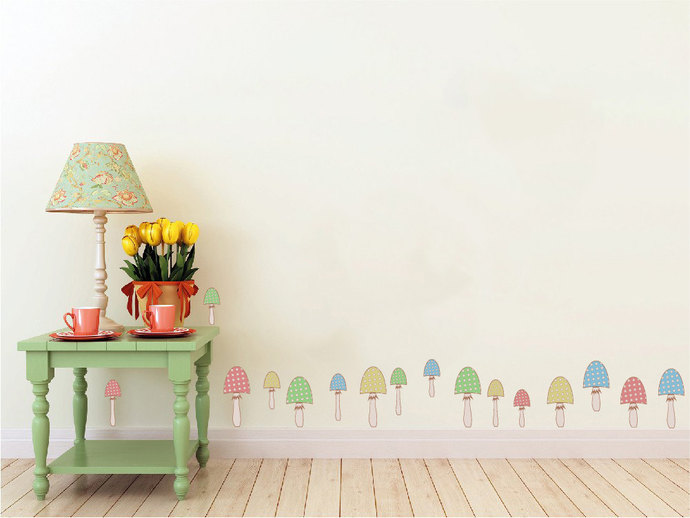"Whimsical Mushroom Patch - Wall Decal - 9"" tall x 54"" wide"