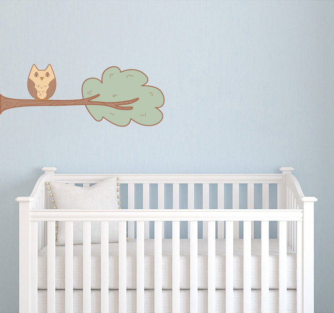 """Whimsical Branch with Owl - Wall Decal - 10"""" tall x 27"""" wide"""