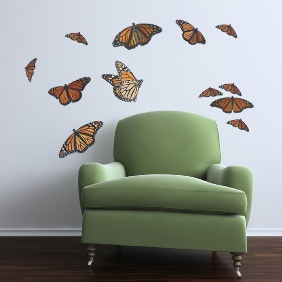 Monarch Butterfly Decal Set - Sizes shown in Second Example Image