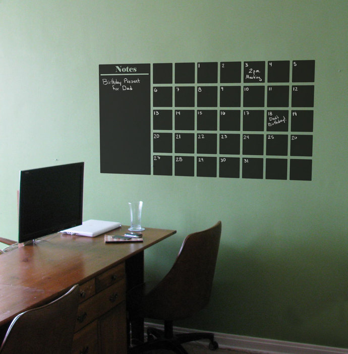 "Chalkboard Calendar Wall Decal with Extra Note Panel - 25"" tall x 48"" wide"