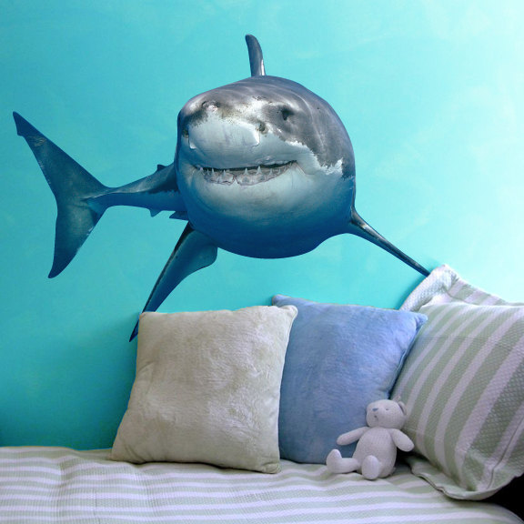 """Great White Shark Sea Life Wall Decal - 22"""" tall x 30"""" wide"""