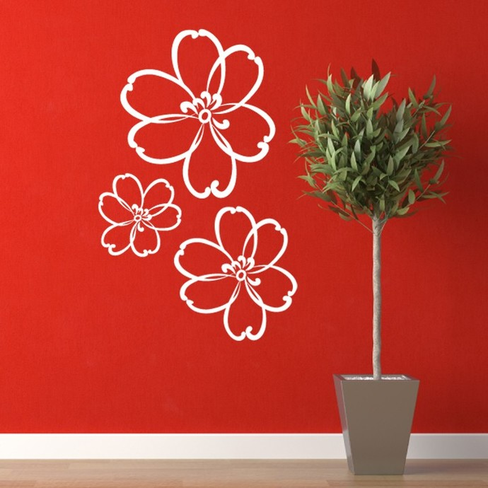 Abstract Flowers Wall Decal Set - Sizes Shown in Description