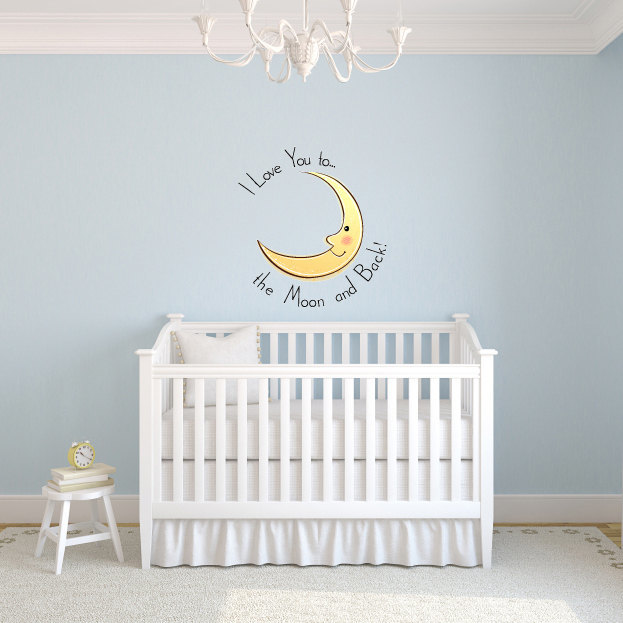"I Love you to the Moon and Back Wall Decal - 24"" tall x 22"" wide Nursery Wall"