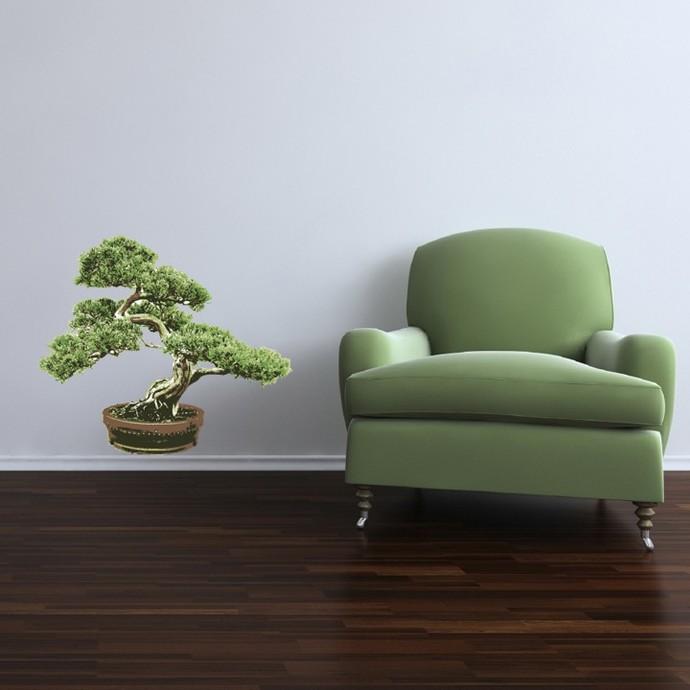 """Large Bonsai Tree Vinyl Wall Decal - 23"""" tall x 27"""" wide"""