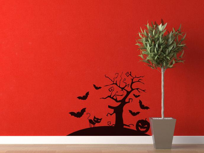 "Scary Tree Halloween Scene Cut Vinyl Decal - 20.5"" tall x 27"" wide"