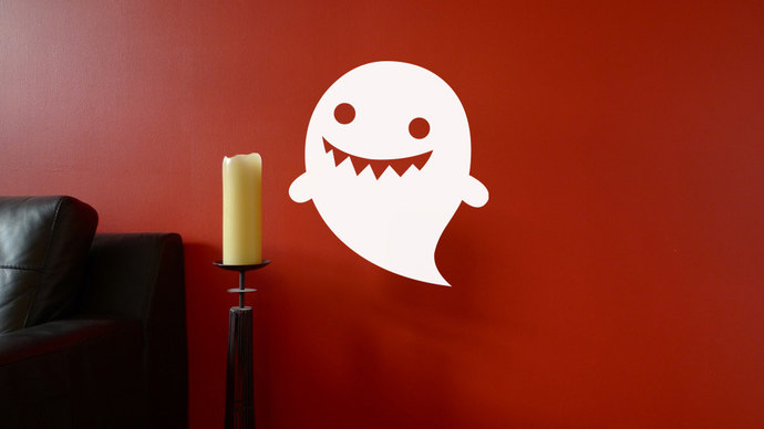 "Goofy Ghost Halloween Cut Vinyl Decal - 22.5"" tall x 20"" wide"