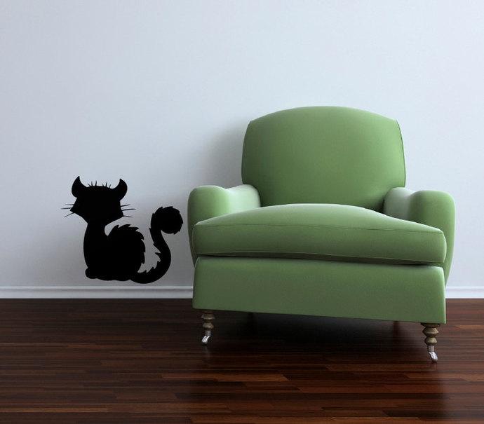 "Cute Black Cat Halloween Cut Vinyl Decal - 13.5"" tall x 12"" wide"