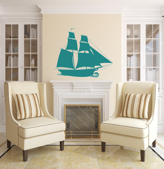 """Large Pirate Ship Wall Decal - 22.5"""" tall x 27"""" wide"""