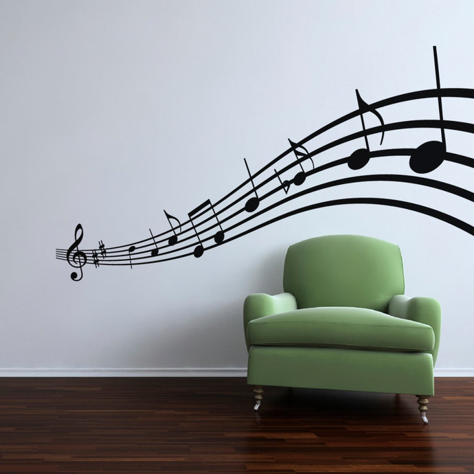 """Music Wave Wall Decal - 27"""" tall x 49"""" wide"""