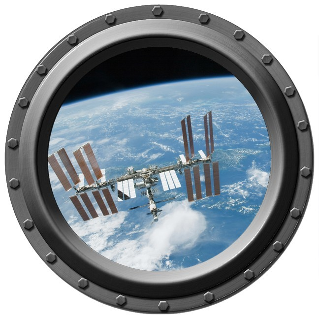 The International Space Station Seen through a Porthole Wall Decal