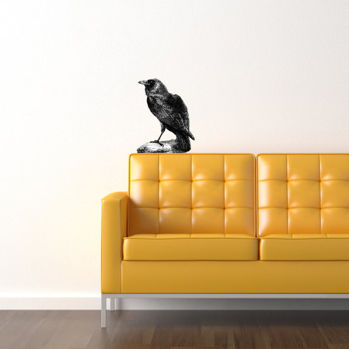 """Raven Wall Decal - Pen and Ink Style - 17"""" tall x 14"""" wide"""