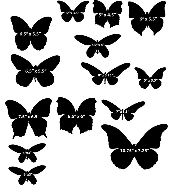 17 Butterfly Decals - Sizes Shown On Example Image Below