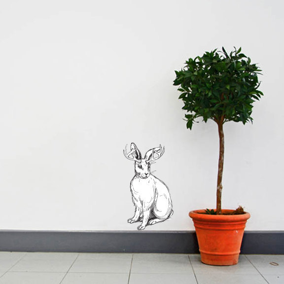 """Sketchy Black and White Jackalope - Wall Decal - 13"""" tall x 9"""" wide"""