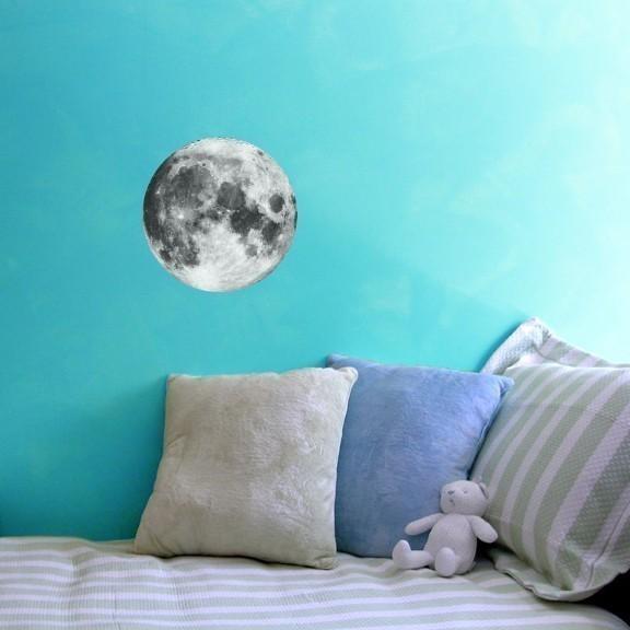 "Full Moon Vinyl Wall Decal - 10"" tall x 10"" wide"