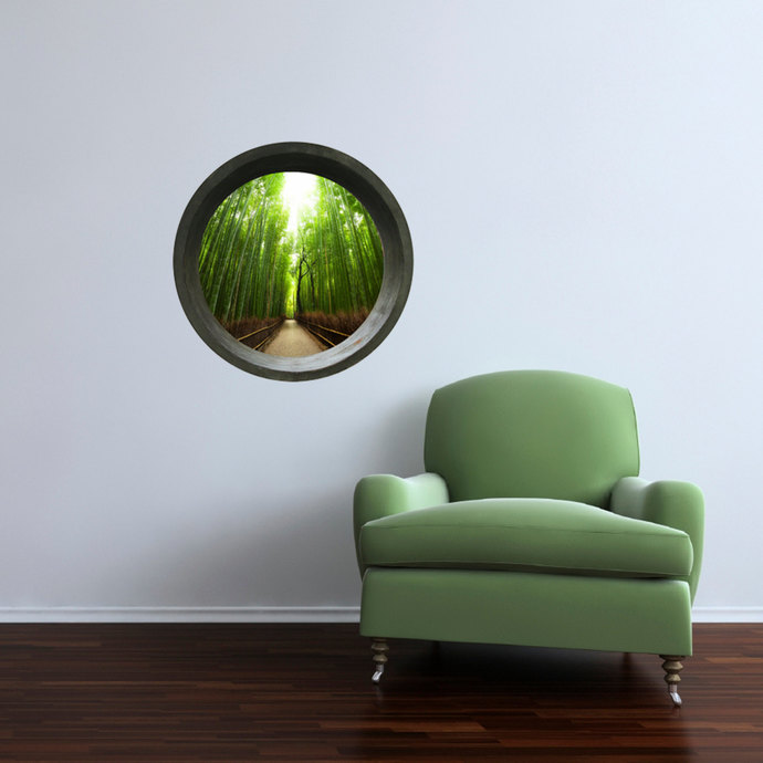 "Round Window - Bamboo Forest Wall Decal - 24"" tall x 24"" wide"
