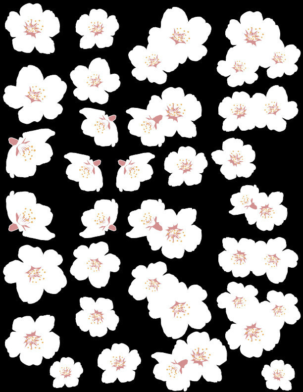 White Cherry Blossom Decal Set 41 Blossoms - Sizing Information in Product