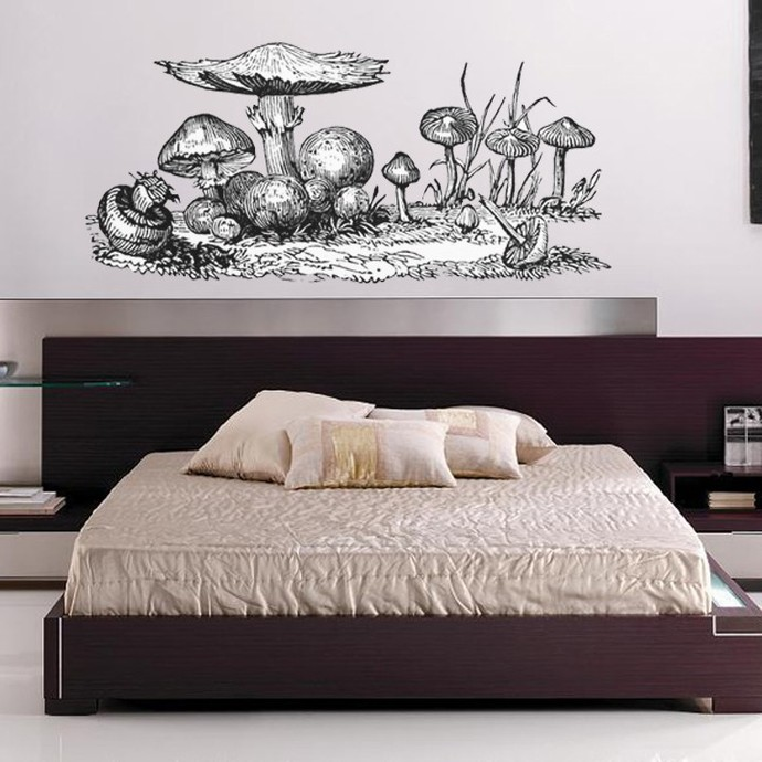 """Giant Mushroom Wall Decal - Pen and Ink Style - 28"""" tall x 60"""" wide"""