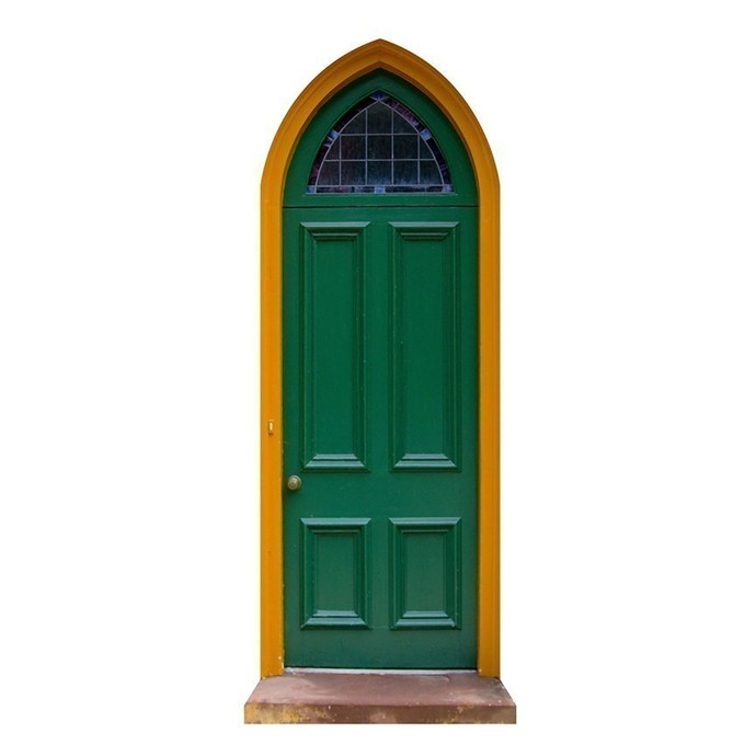"Green Gothic Fairy Door Wall Graphic - 11"" tall x 4.5"" wide"