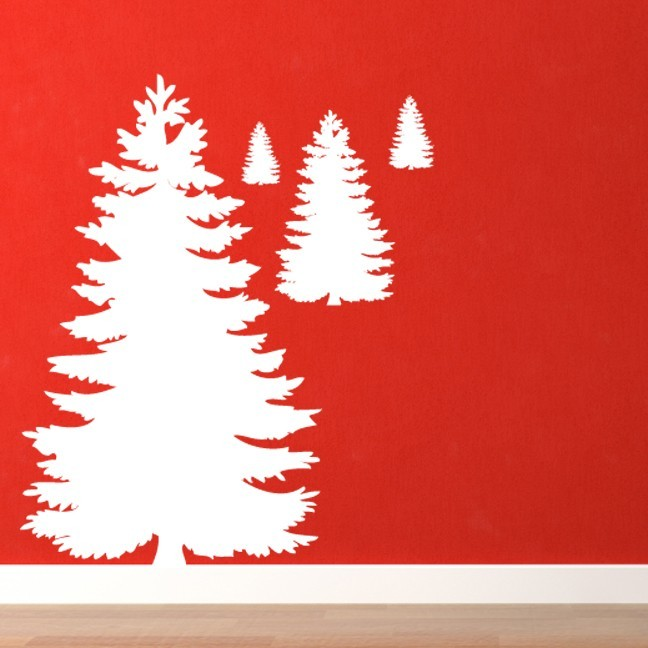 4 Cedar Trees Wall Decal Set