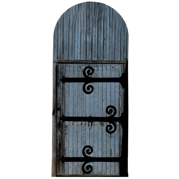 """Blue Fairy Door with Iron Hinges Wall Decal - 11.25"""" tall x 5"""" wide"""