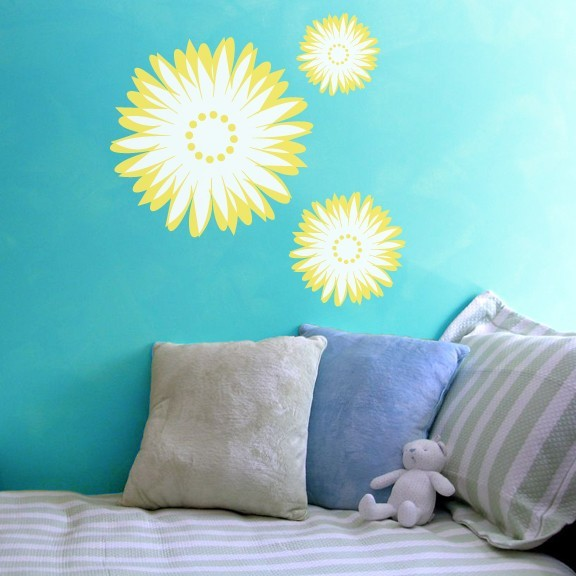 """Abstract Sunflower Wall Decals - Overall Size 25.5"""" tall x 27"""" wide"""