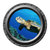 Turtle Swimming Over a Reef Porthole Wall Decal
