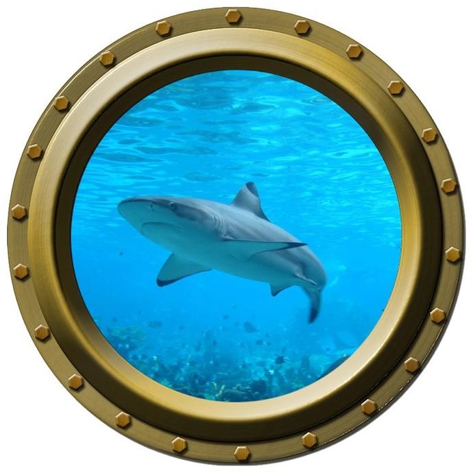 Shark Design Two - Porthole Wall Decal