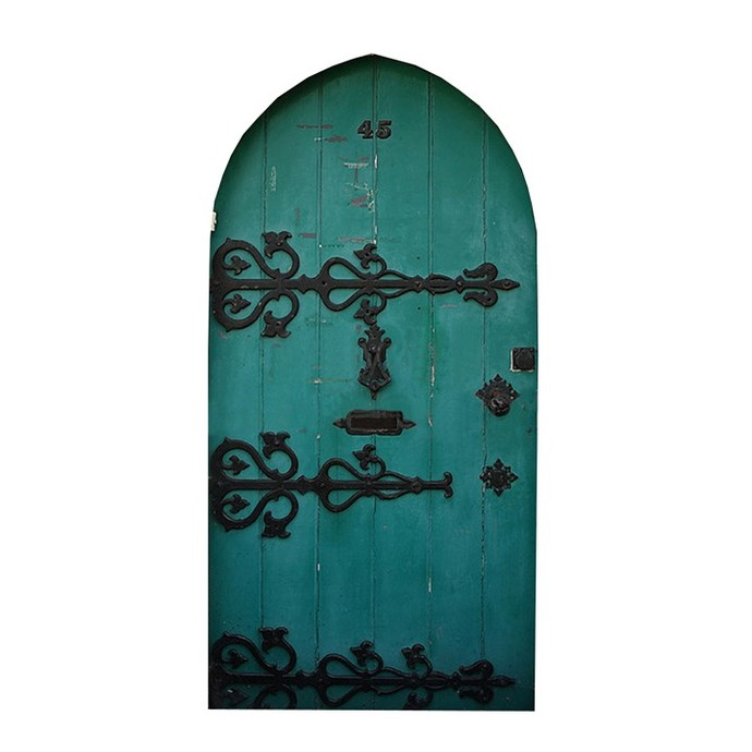 "Green Fairy Door Design Two Wall Decal - 8"" tall x 4"" wide"