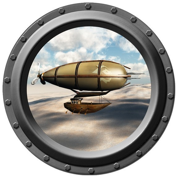 Steampunk Airship Porthole Wall Decal