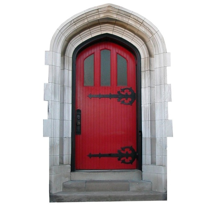 """Bright Red Fairy Door Wall Decal - 8"""" tall x 5"""" wide"""