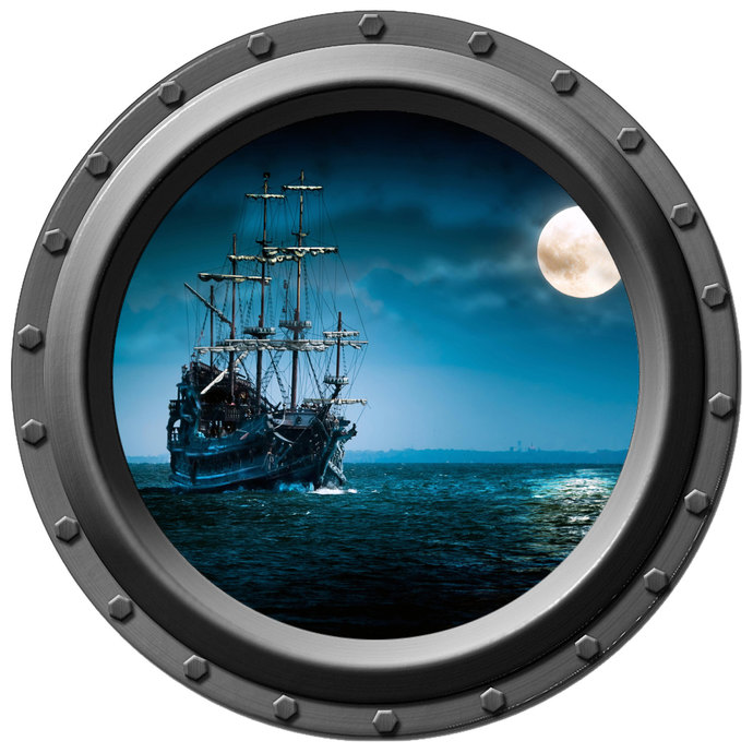 Pirate Ship by Moonlight Porthole Wall Decal