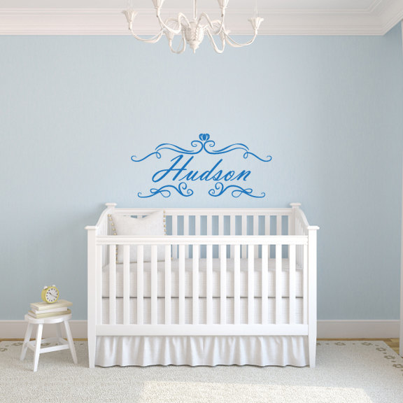 """Personalized Name Vinyl Wall Decal Style A - 12"""" tall x 26.6"""" wide"""