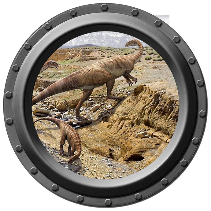 Dinosaur Crossing Porthole Wall Decal
