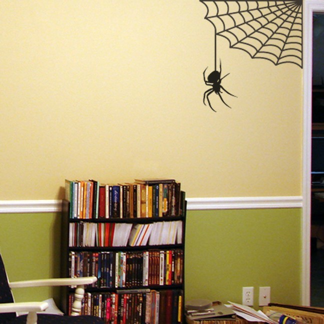 "Spider Hanging from Web Wall Decal - 22"" tall x 20"" wide"