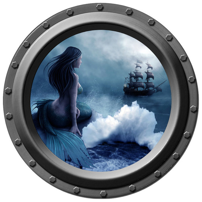 Mermaid Porthole Wall Decal - She Waits