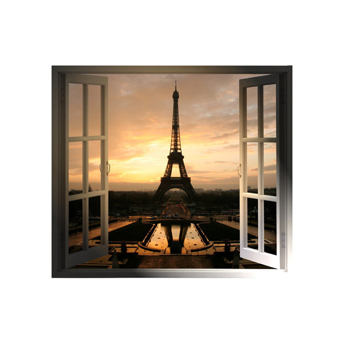 "Windowscape France Series - Paris at Sunset - 27"" tall x 31"" wide"