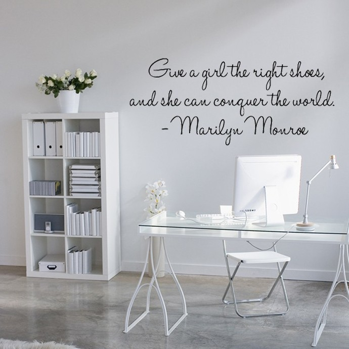 Marilyn Monroe Quote - Give A Girl The Right Pair of Shoes... Vinyl Wall Decal -