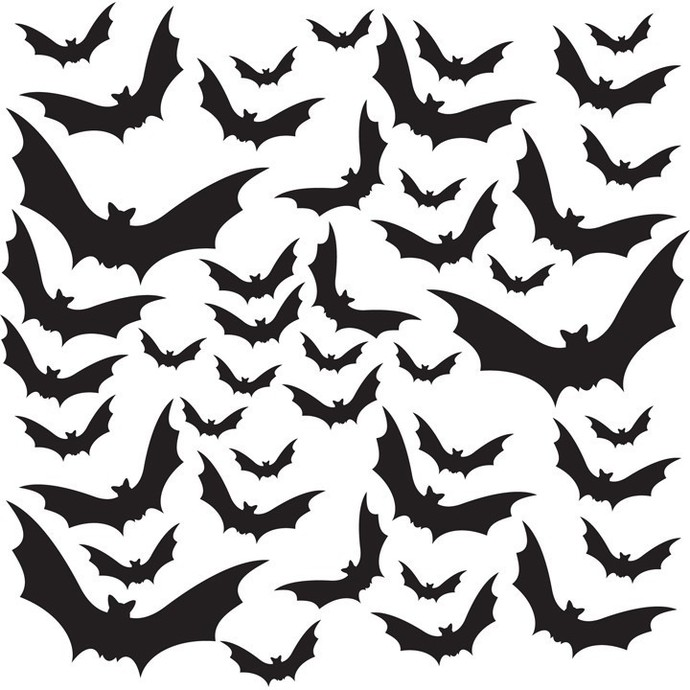 Halloween Themed - 44 Bats Vinyl Decals - Sizes Listed in Description