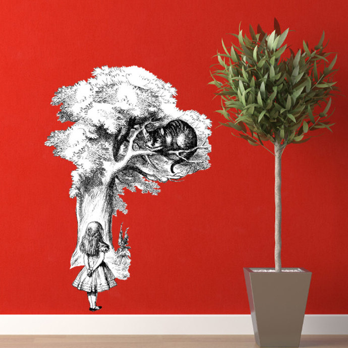 """The Cheshire Cat and Alice Wall Decal - 35"""" tall x 24"""" wide"""